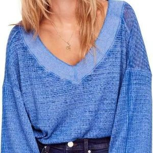 Free People Southside Thermal Pullover BLUE